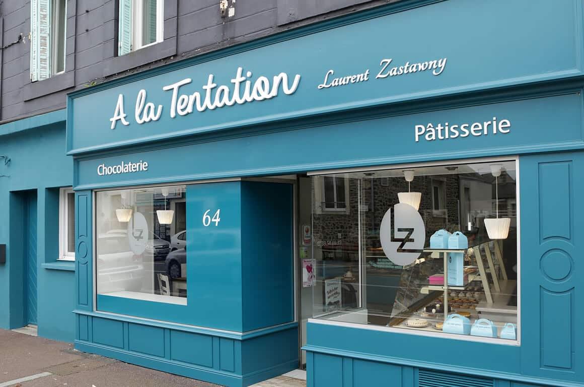 Design extérieur de la pâtisserie La tentation